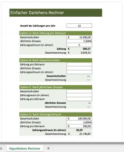 Einfacher Darlehensrechner mit Excel
