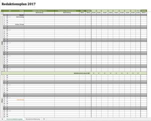 Vorschau des Redaktionsplans 2017 als Excelvorlage