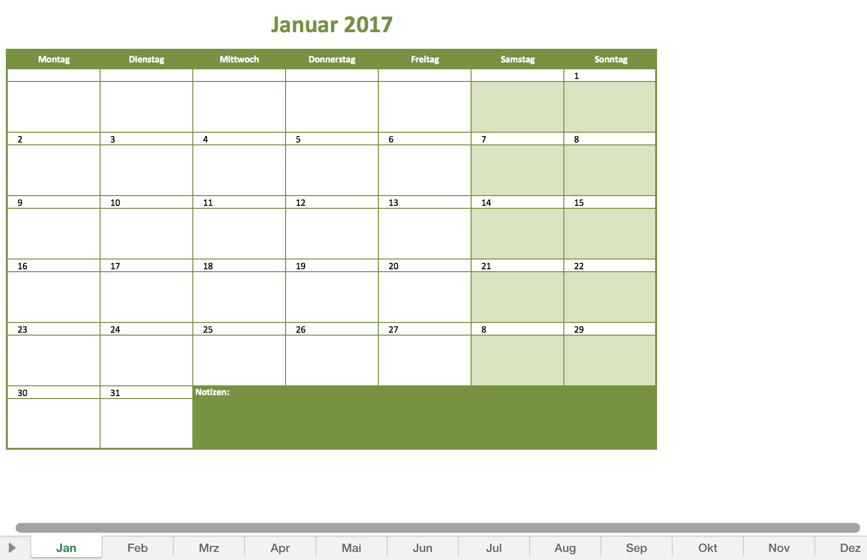 Monatskalender 2017 in Excel und als PDF