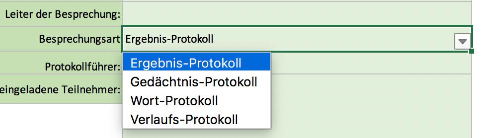 Wählen Sie Protokollart im Drop-Down-Menü