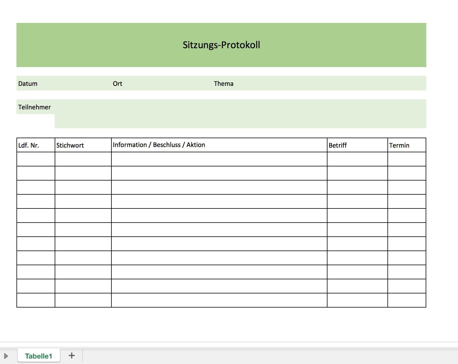 Protokollvorlage als Muster | Excel Vorlagen für jeden Zweck