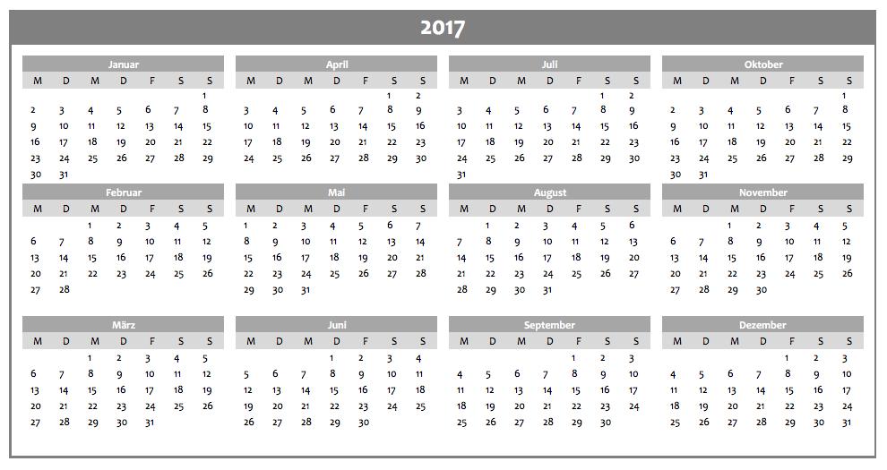 Excel-Jahreskalender 2017 in grau