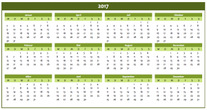 Excel-Jahreskalender 2017 Grün