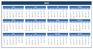 Excel-Jahreskalender 2017 in blau