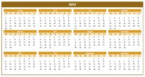 Excel-Jahreskalender 2017 in orange