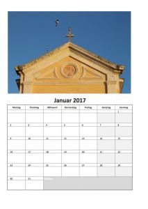 Fotokalender mit Excel für 2017 (Januar)