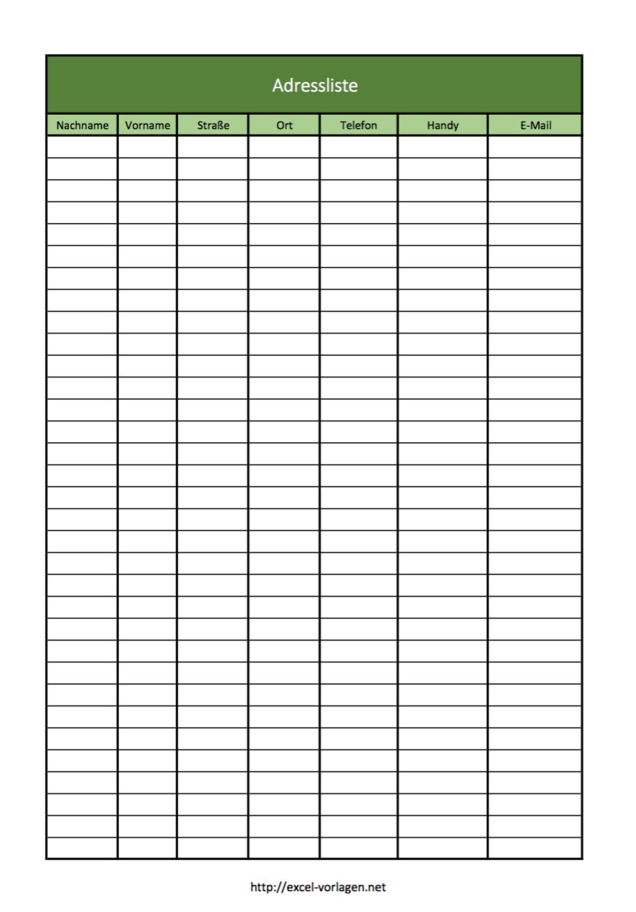 Einfache Adressliste in Excel