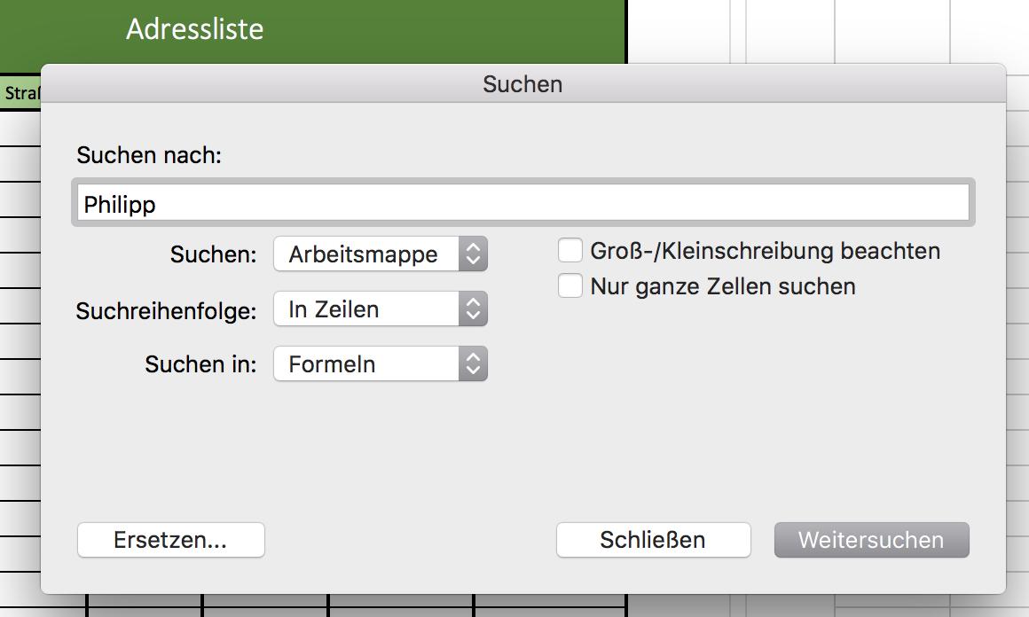 Inhaltssuche in Excel