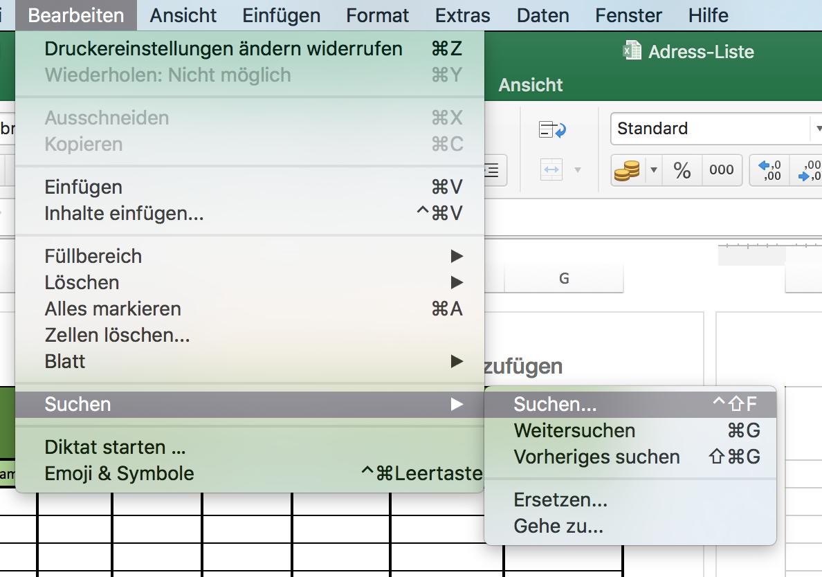 Suchfunktion in Excel aufrufen