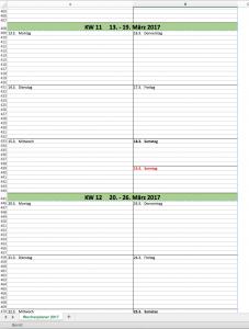 Der Wochenkalender 2017 für Excel