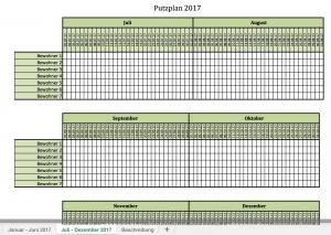 Putzplan 2017 mit Excel