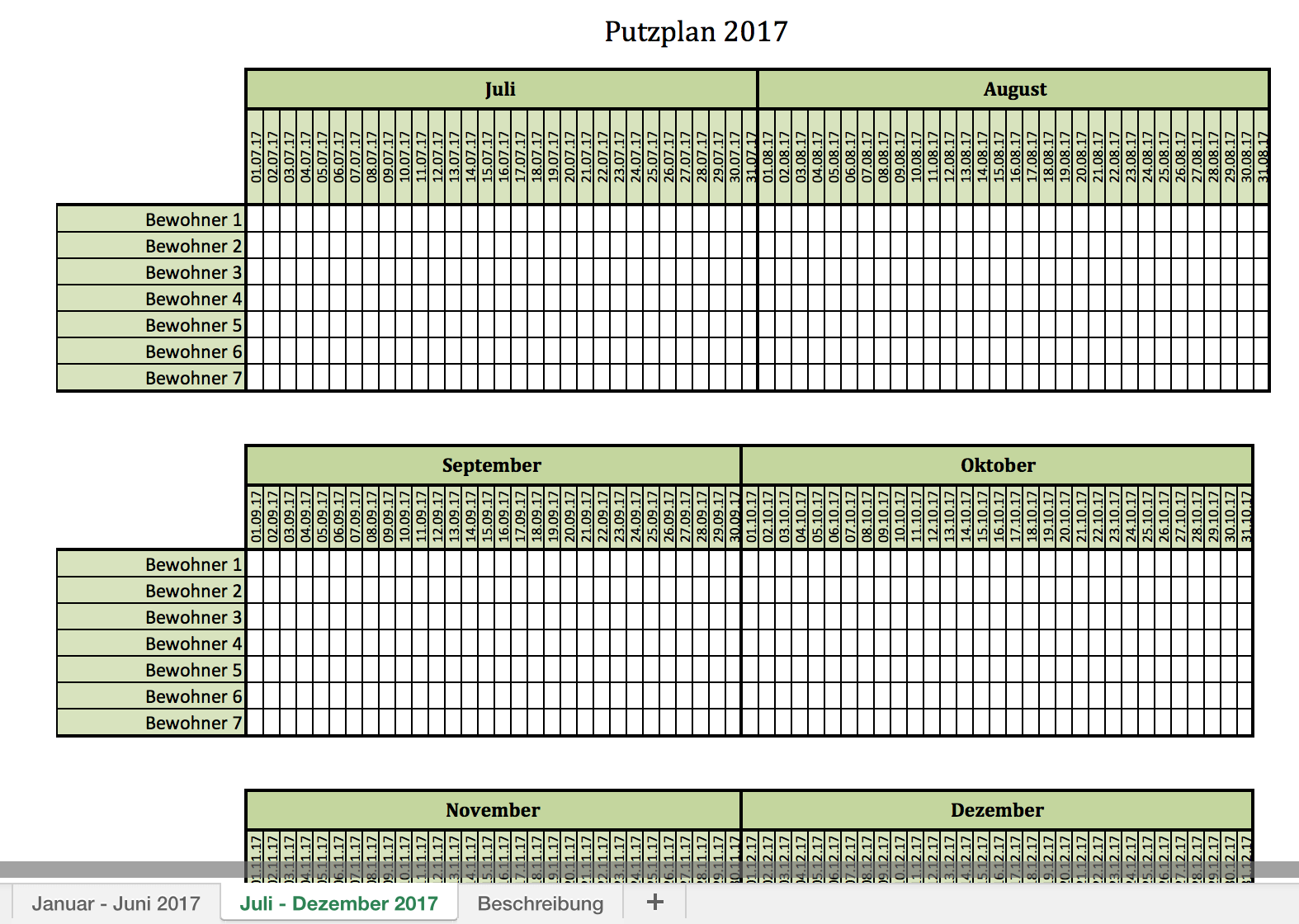putzplan f r 2017 mit excel vorlagen und pdf excel vorlagen f r jeden zweck. Black Bedroom Furniture Sets. Home Design Ideas