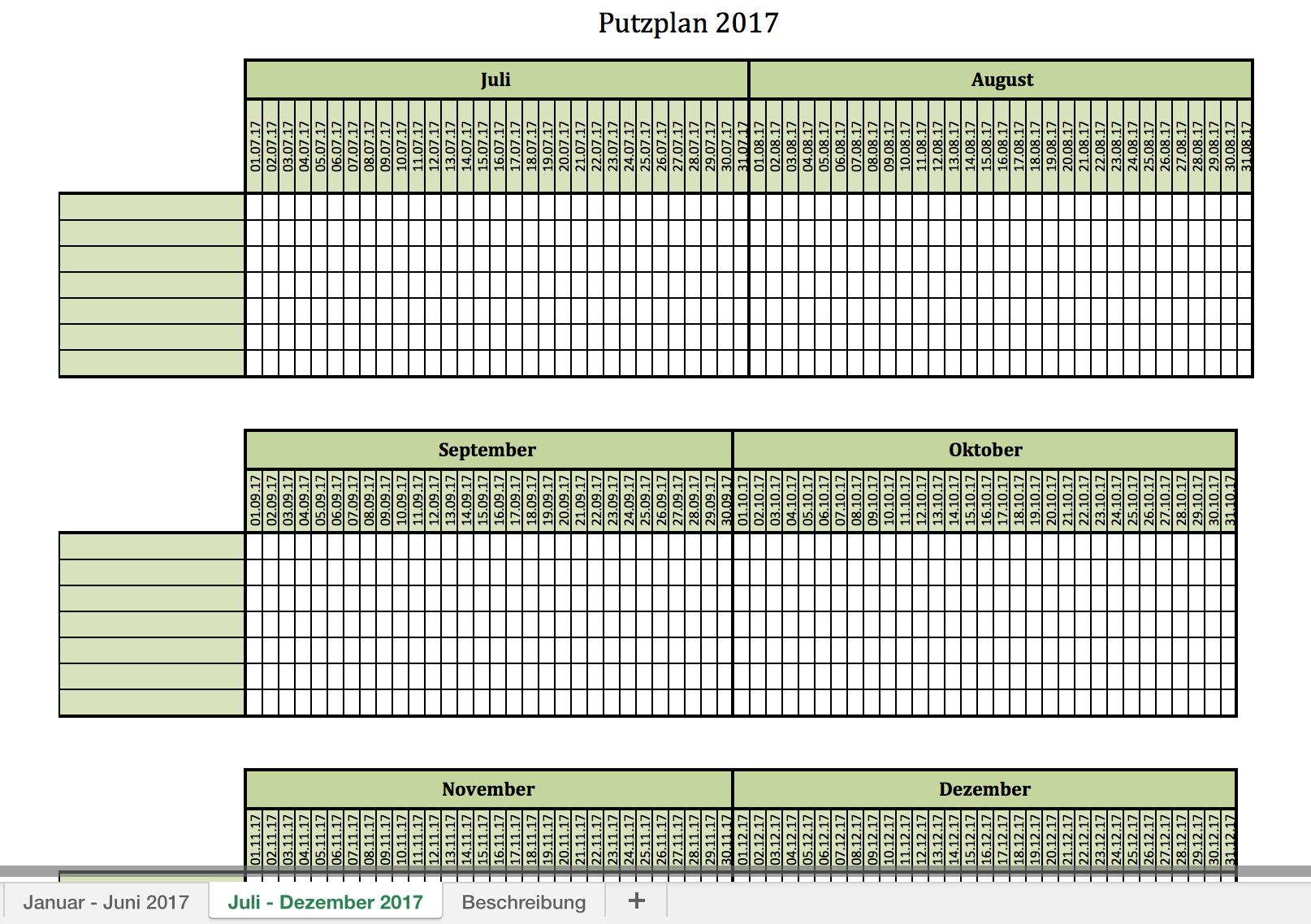 Blanko Putzplan 2017 mit Excel