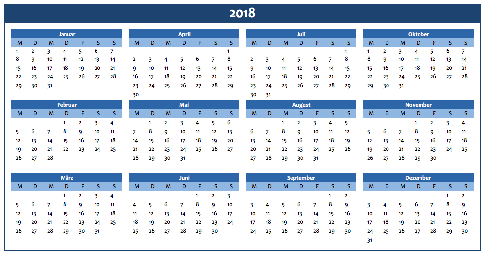 Jahreskalender 2018 in blau