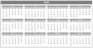 Jahreskalender 2018 in grau