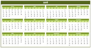 Jahreskalender 2018 in grün