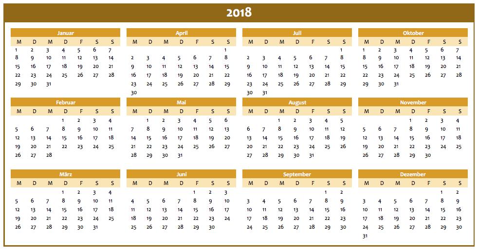 Jahreskalender 2018 in orange