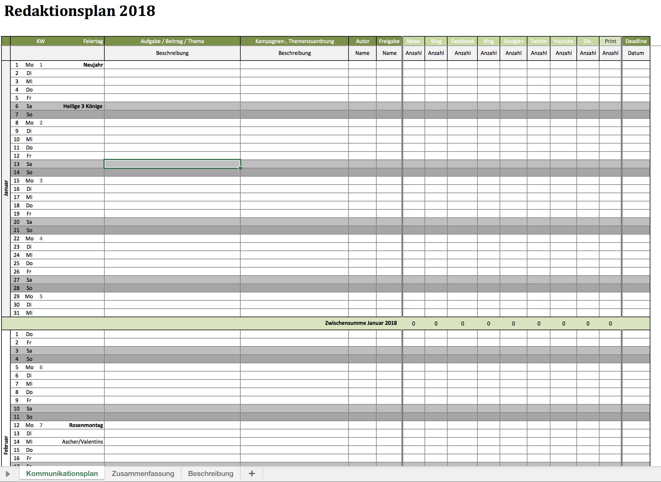 Kostenloser Redaktionsplan für 2018 | Excel Vorlagen für jeden Zweck