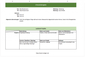 Urlaubsübergabeliste mit Excel-Vorlagen