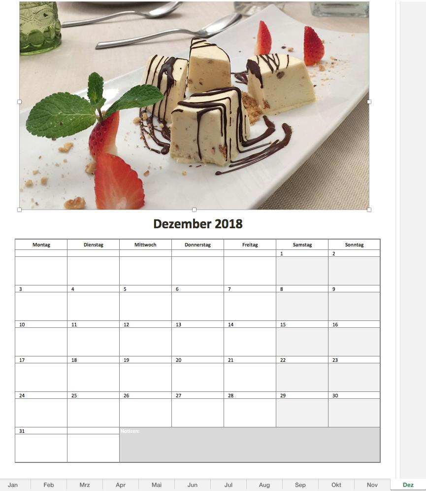Fotokalender 2018 mit Excel
