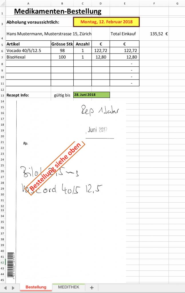 Medikamenten-Bestellung auf Excel-Arbeitsblatt