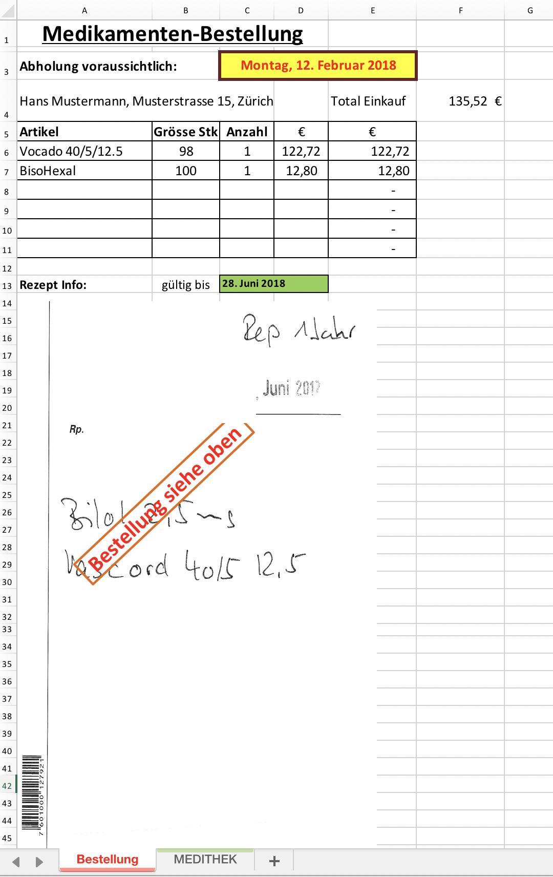 medikamenten-bestellung | Excel Vorlagen für jeden Zweck