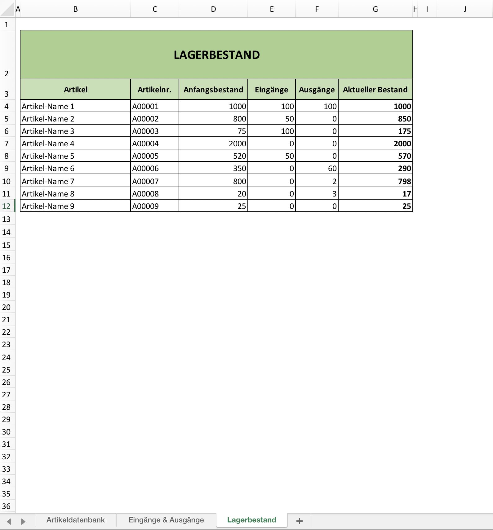 Lagerverwaltungs-Vorlage - ganz einfach mit Excel | Excel Vorlagen ...