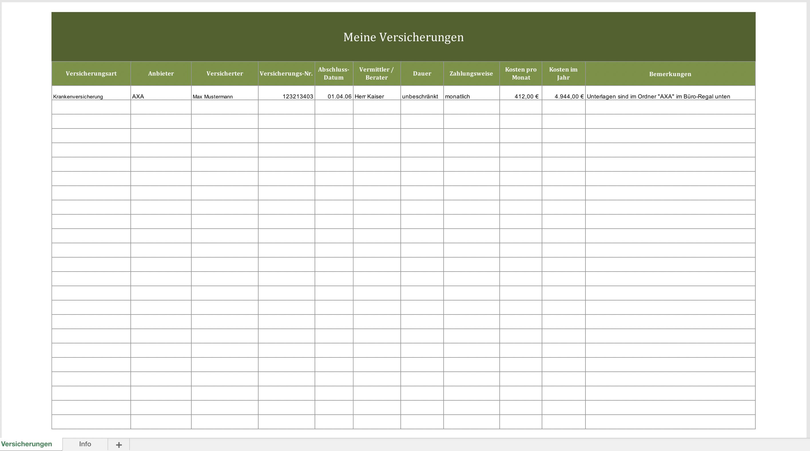 Versicherungsverwaltung Mit Excel Excel Vorlagen Für Jeden Zweck