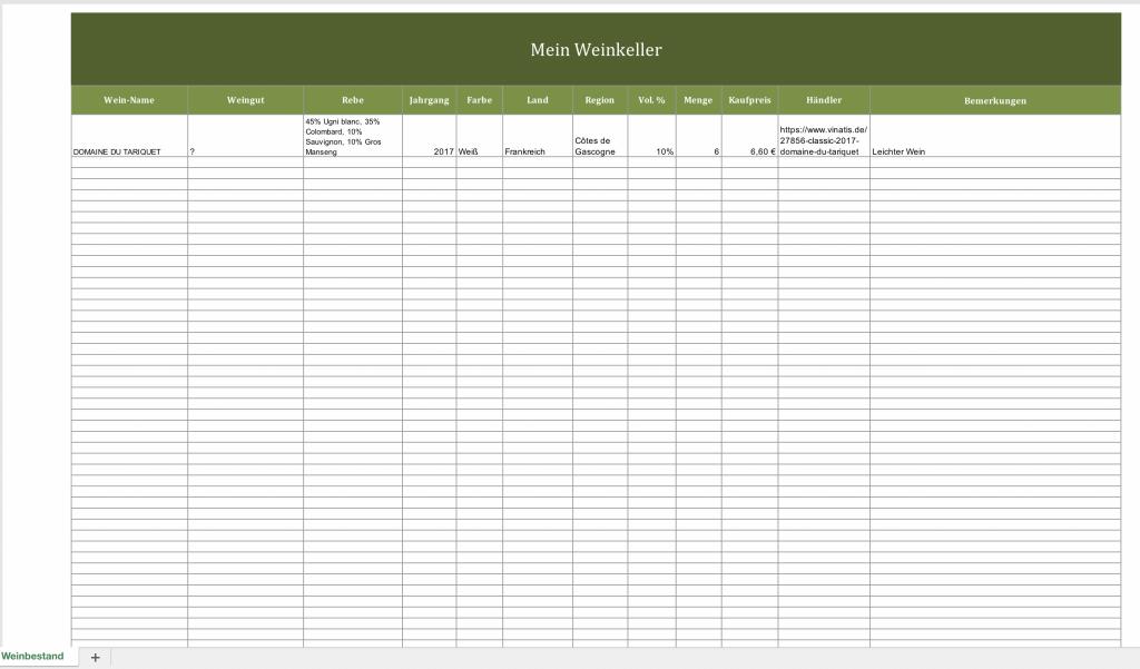 Weinkeller-Verwaltung mit Excel