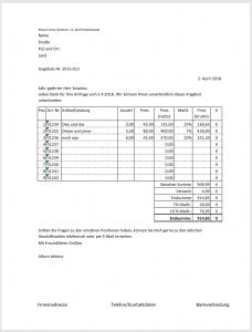 Angebotsvorlage mit Excel