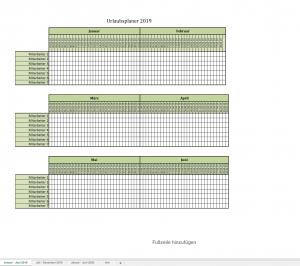 Urlaubsplaner für 2019 mit Excel