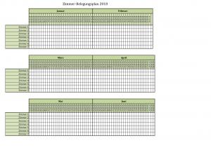 Raumbelegungsplan für 2018 bis 2020