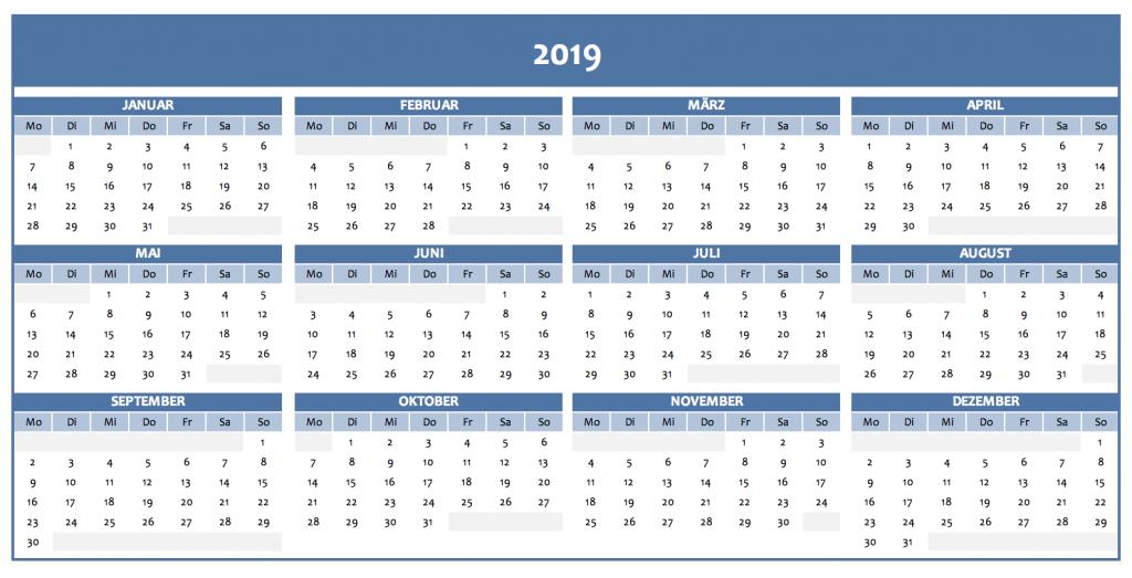 Jahreskalender 2019 Als Excelvorlage Und Pdf Kostenlos