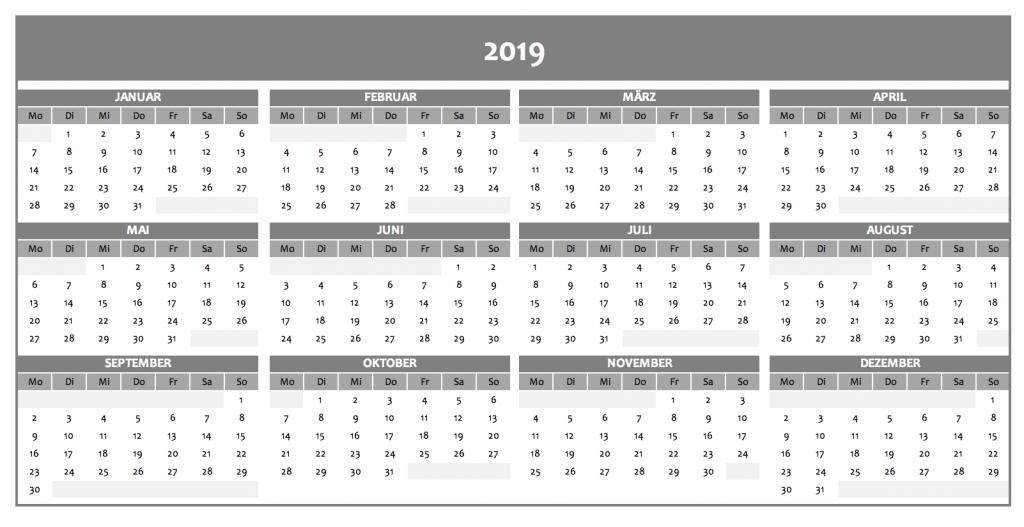Jahreskalender 2019 in grau