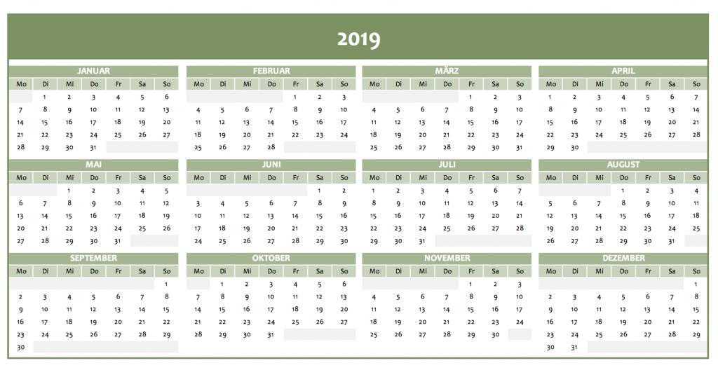 Jahreskalender 2019 in grün