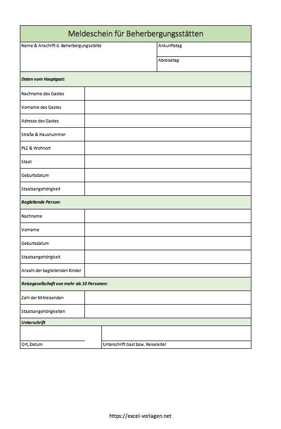 Meldeschein für Hotels, Ferienwohnungen und Beherbungsstätten mit Excel