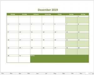 Monatskalender 2019 (Dezember)