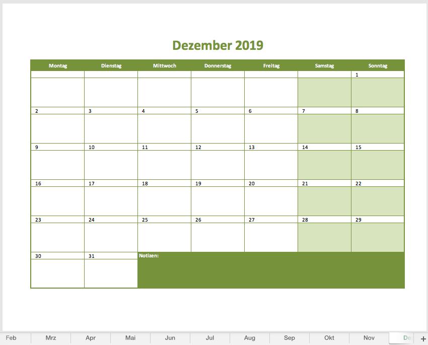 Monatskalender 2019 Als Excelvorlage