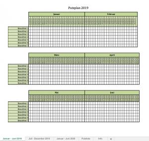 Putzplan mit Excel für 2019