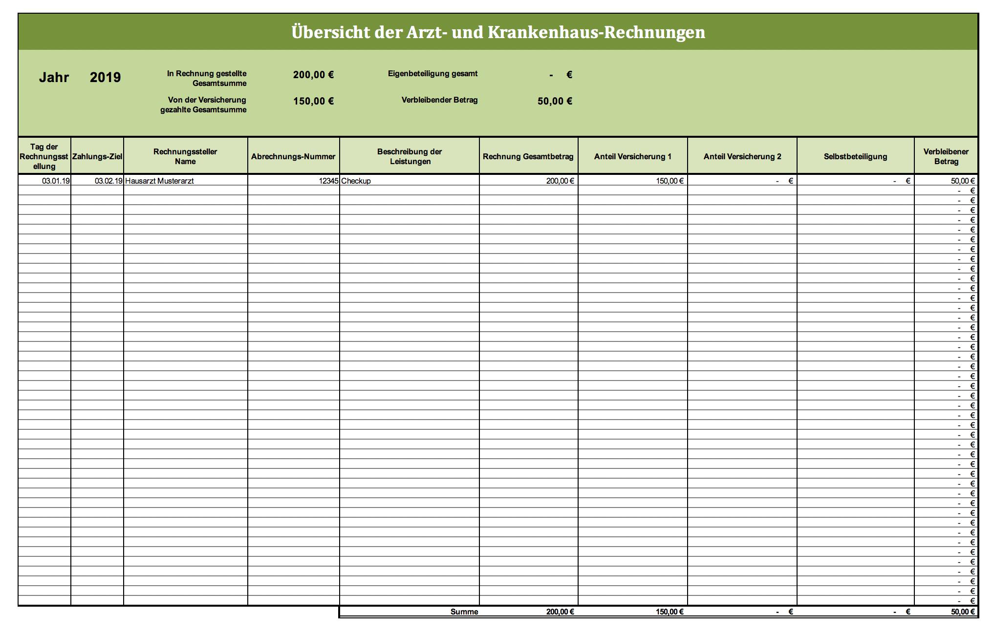 Arztrechnungen Verwalten Mit Excel