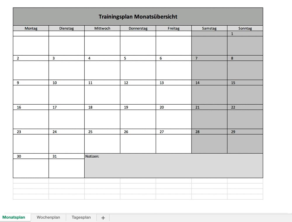 fitnessplan monat - Fitnessplan mit Excel