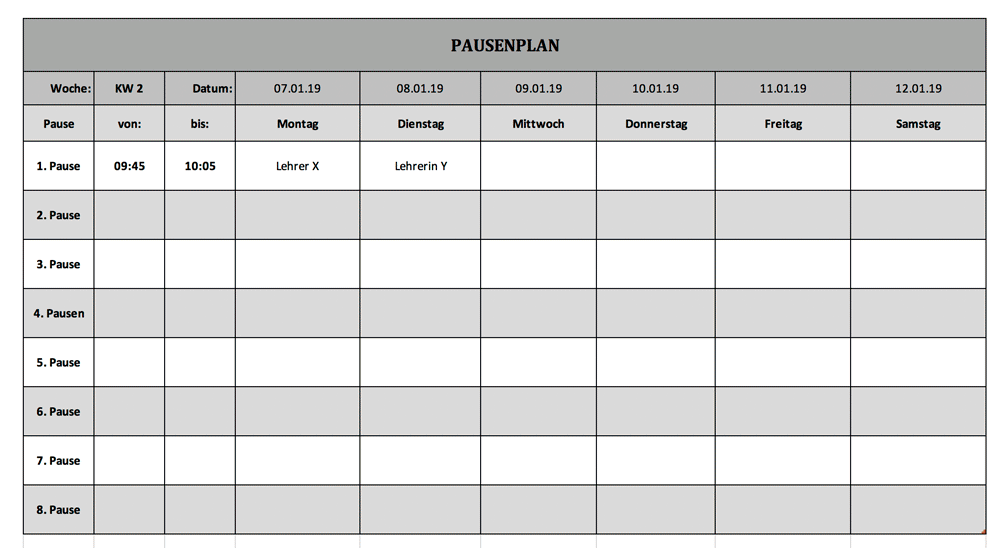 Pausenplan Aufsicht Schule