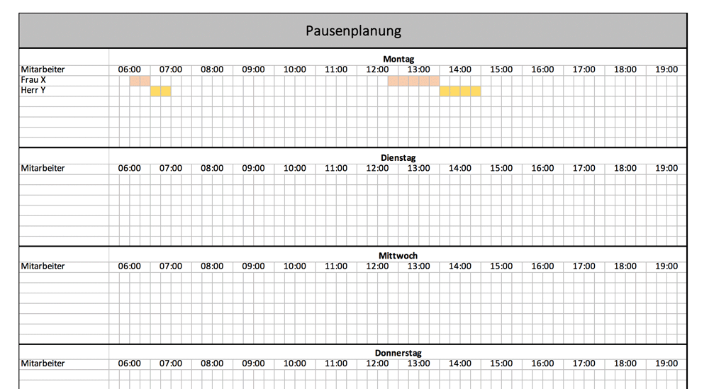 Pausenplanung mit Excel