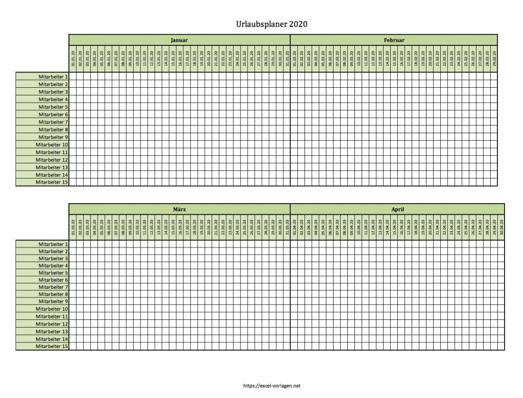 Urlaubsplaner 2020 (bis 15 Mitarbeiter, grün)