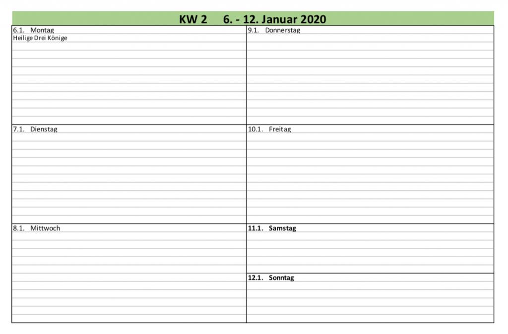 Voransicht der Excelvorlage Wochenplan 2020