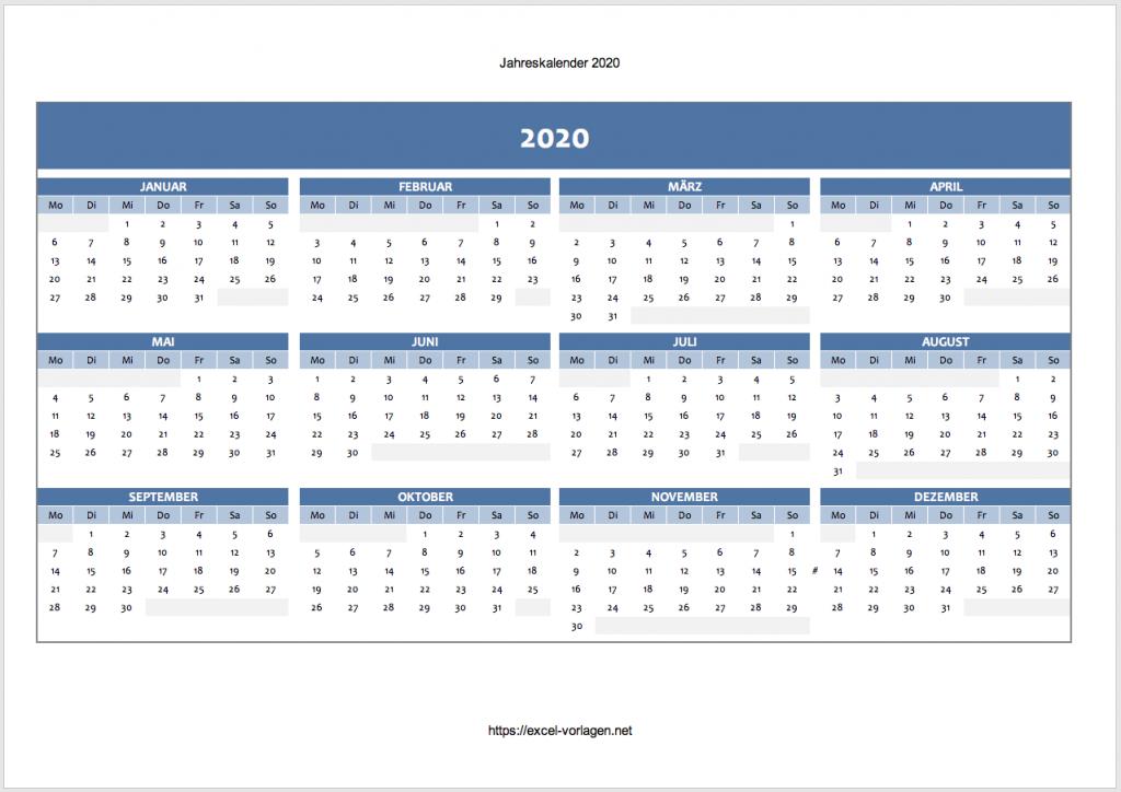 Jahreskalender 2020 (blau)