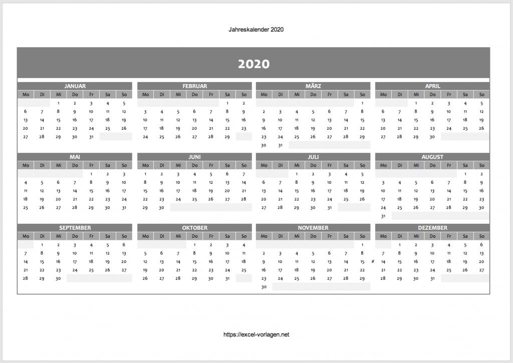 Jahreskalender in blau 2020