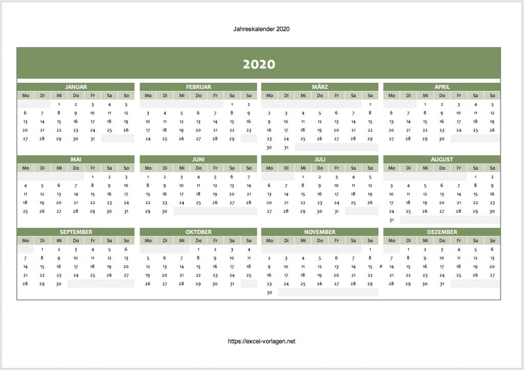 Kalender für 2020 in grün