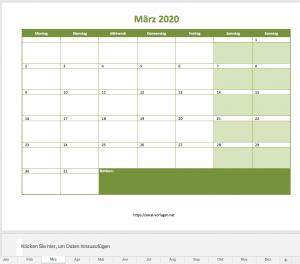 Vorschau Monatskalender für 2020