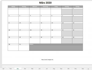 Vorschau Monatskalender für 2020 (in grau)